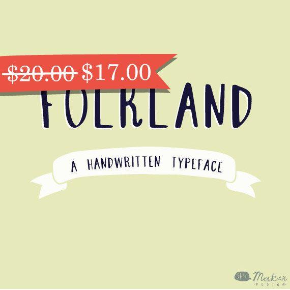 Folkland  A Handwritten Typeface  Font by ShhMakerDesign on Etsy, $17.00