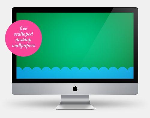 Scalloped desktop wallpaper freebies. Choose from 4 colors.