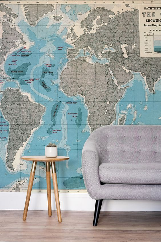 A beautiful map mural that depicts the deepest parts of the ocean. A wonderful i...