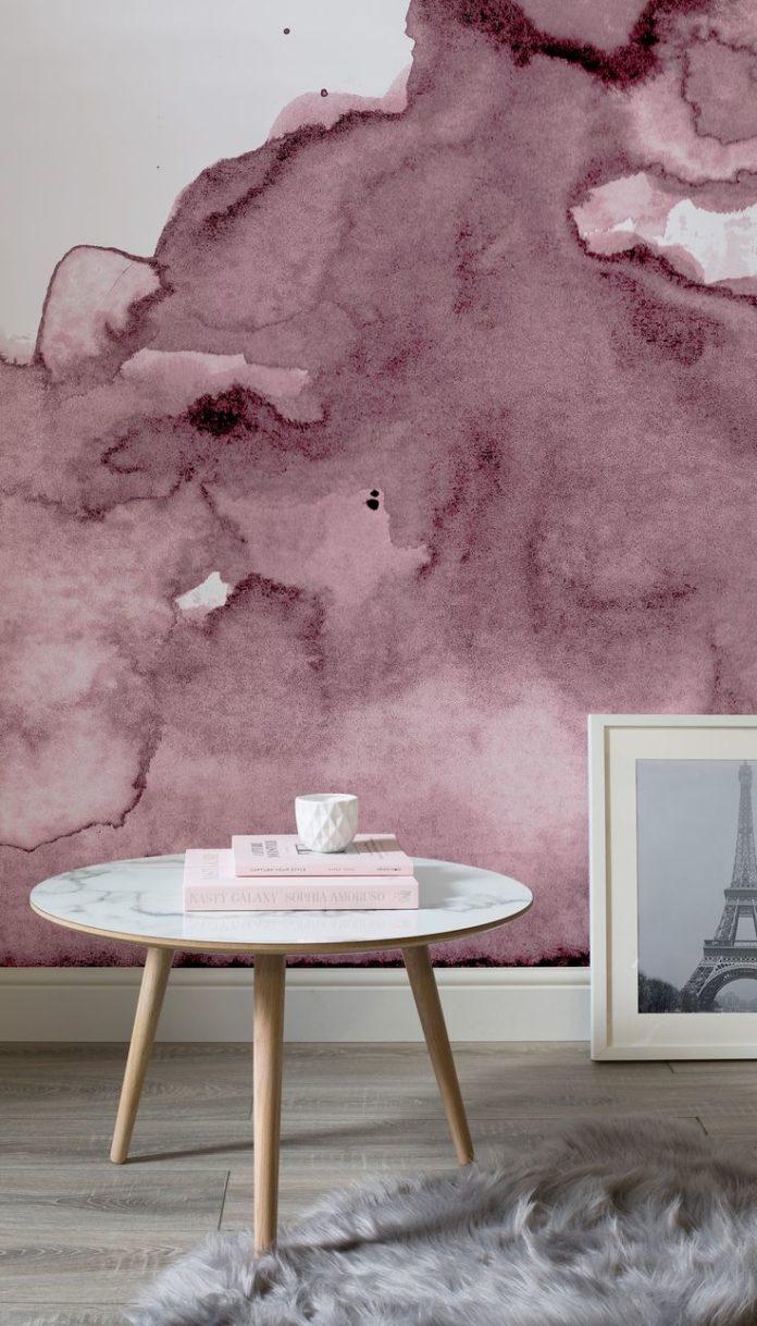Banish ordinary walls with this watercolor wallpaper. Bring wondrous shades of d...