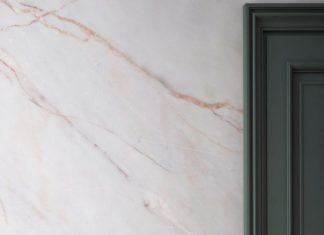 Bring a touch of luxury to your home with this marble wallpaper. Faint pink line...