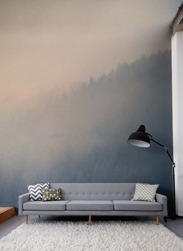 Gaze across the treetops with the beautifully hazy forest wall mural. Soft paste...