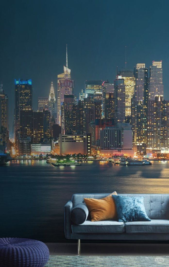 Get this gorgeous cityscape in your home. This city wallpaper is rich in detail ...