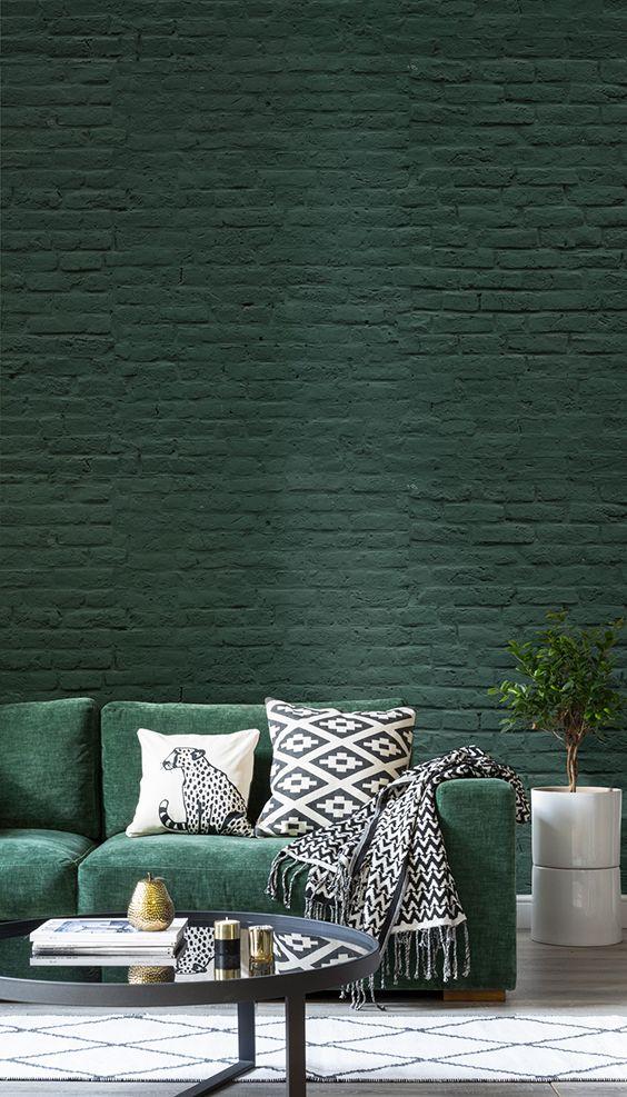 Go Green With This Emerald Brick Wallpaper Dark Sumptuous Tones Set The