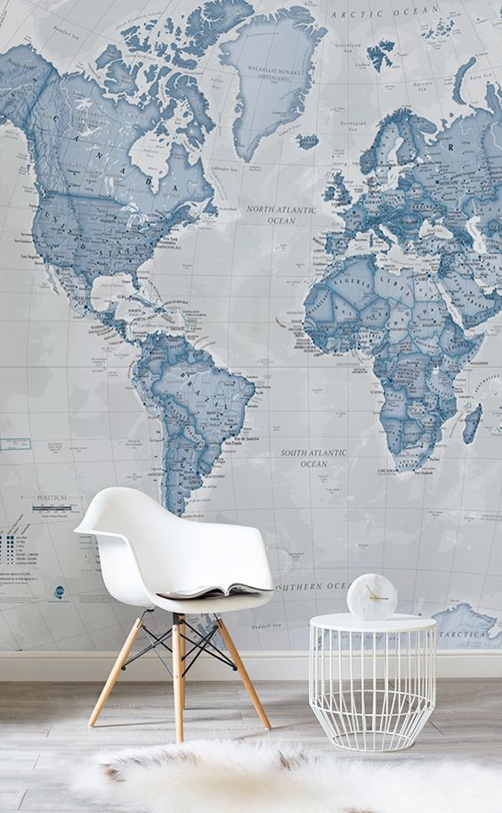 Looking for a bit of peace and quiet? The soothing blues of this map wallpaper h...