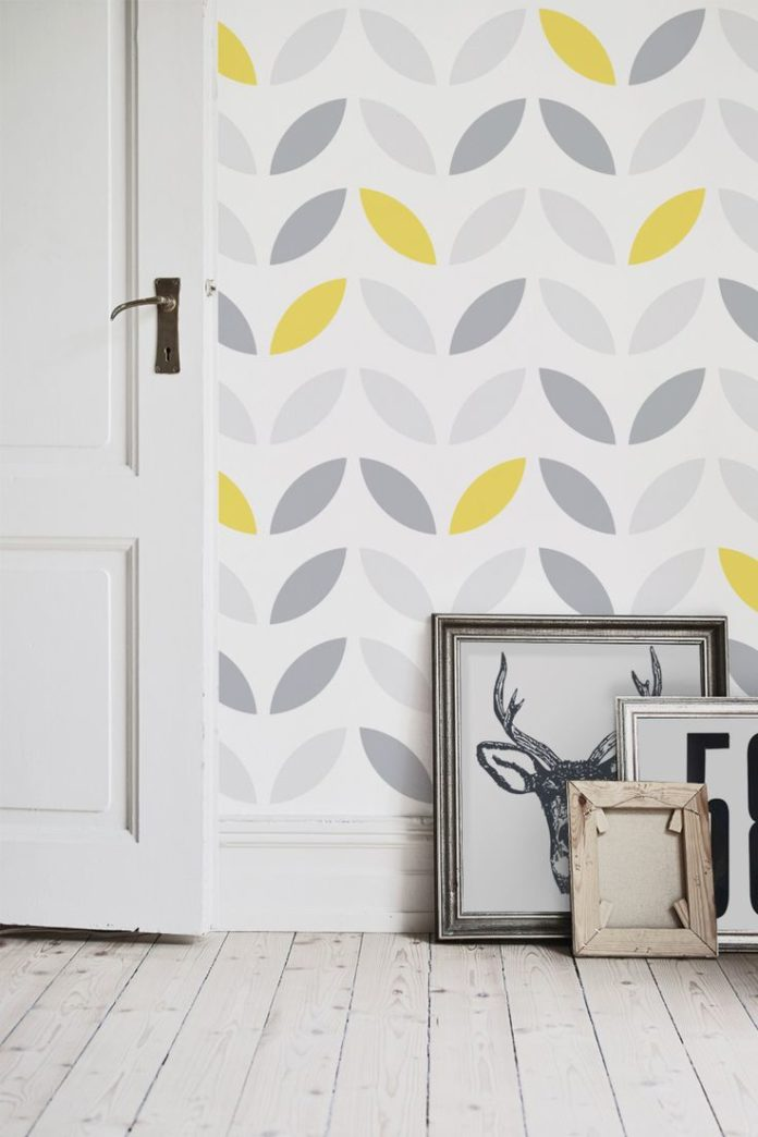 Love yellow and grey colour schemes? You'll love this contemporary wallpaper...