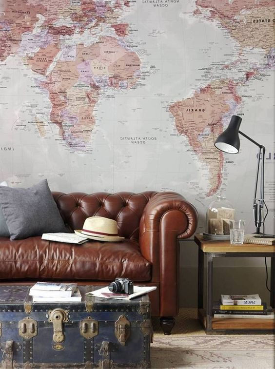 Living Room Wallpaper Inspiration This Classic World Map Mural