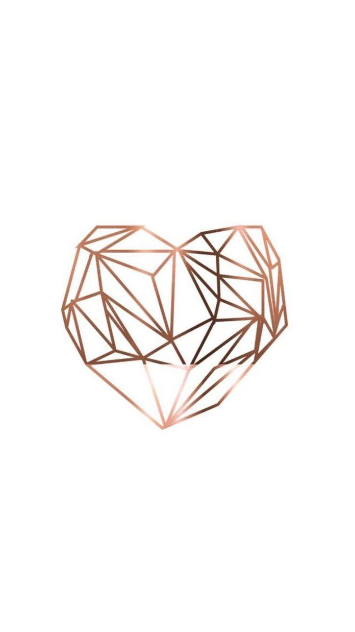 Wallpaper #Fondos de pantalla #Rose gold coração  Imagens para customizações...