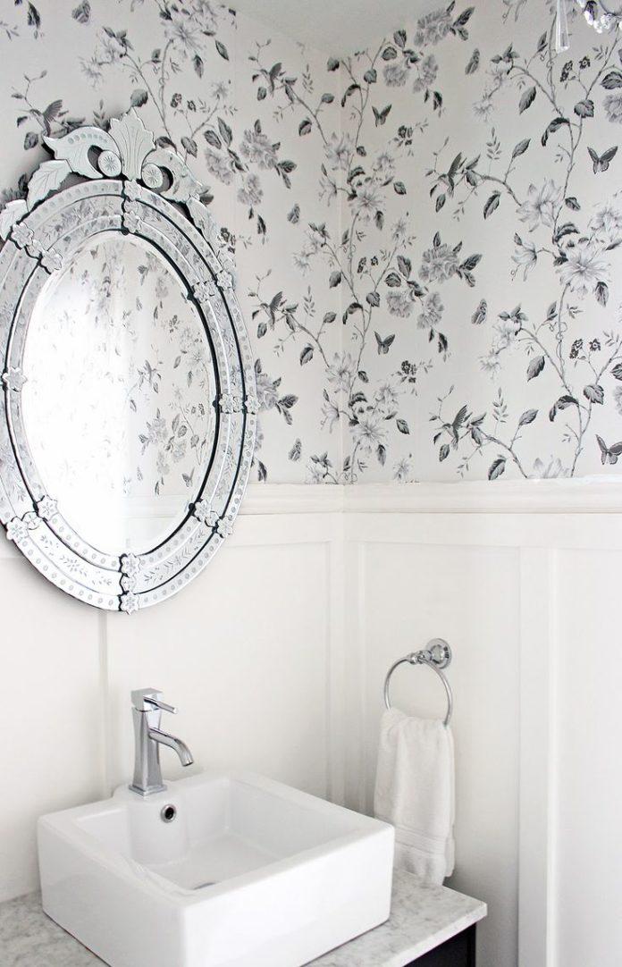 Bathroom wallpaper, Anthropologie Smoky Rose wallpaper, Charcoal grey floral wal...