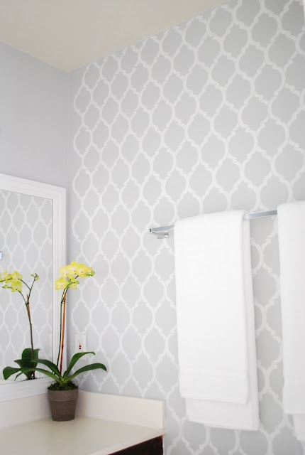 Bathroom Wallpapers Inspiration : Or brighten it up and give it extra character with stencils in white or the same…