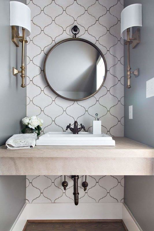 Powder Room Love. Arabesque Tiles, Limestone Tops, Kohler Kathryn Sink,  Brass,