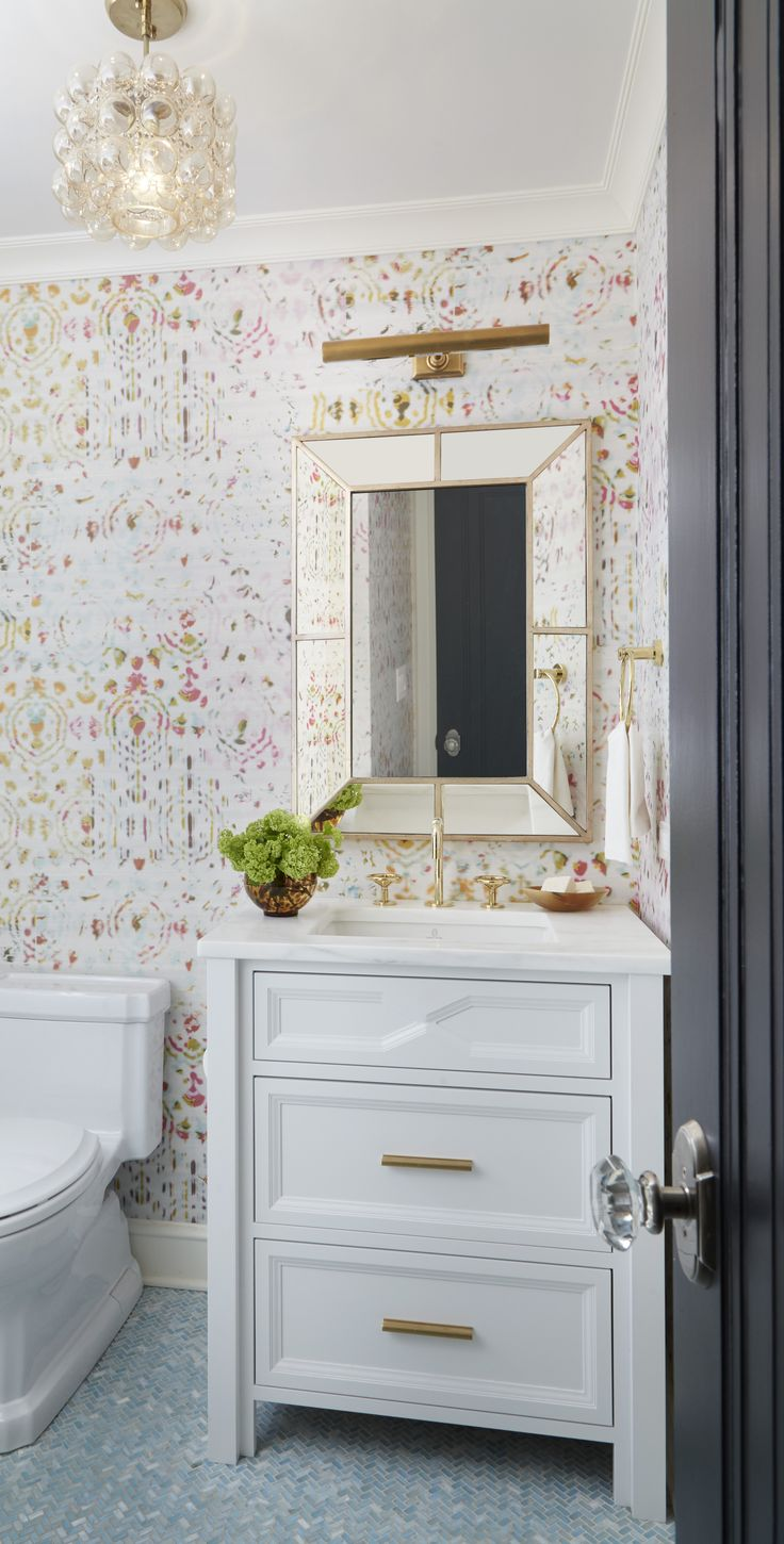 Bathroom Wallpapers Inspiration : Power Room with Eclectic Wallpaper ...