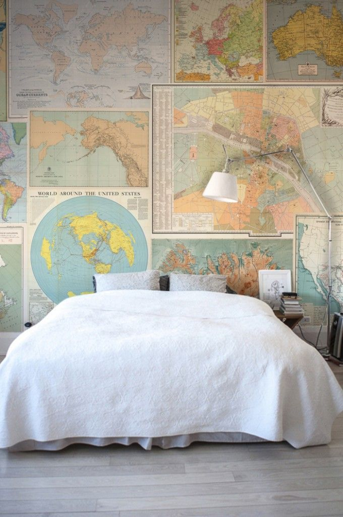 Bedroom wallpaper ideas a stunning collage of vintage maps adds so a stunning collage of vintage maps adds so much character to this bedroom gumiabroncs Images