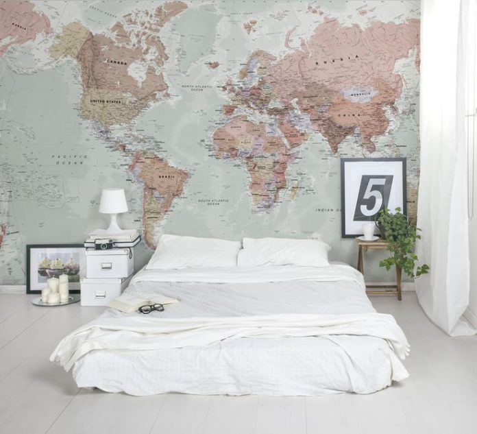 Classic World Map wallpaper with amazing detail and colour. Looks great as a fea...