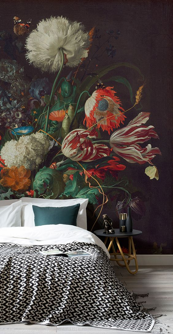 How to achieve the dark wall look with ease! This art wallpaper mural showcases ...