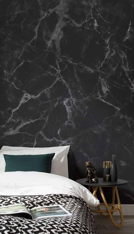Love This Sumptuously Dark Bedroom Space Faux Marble Texture Wallpaper Bri