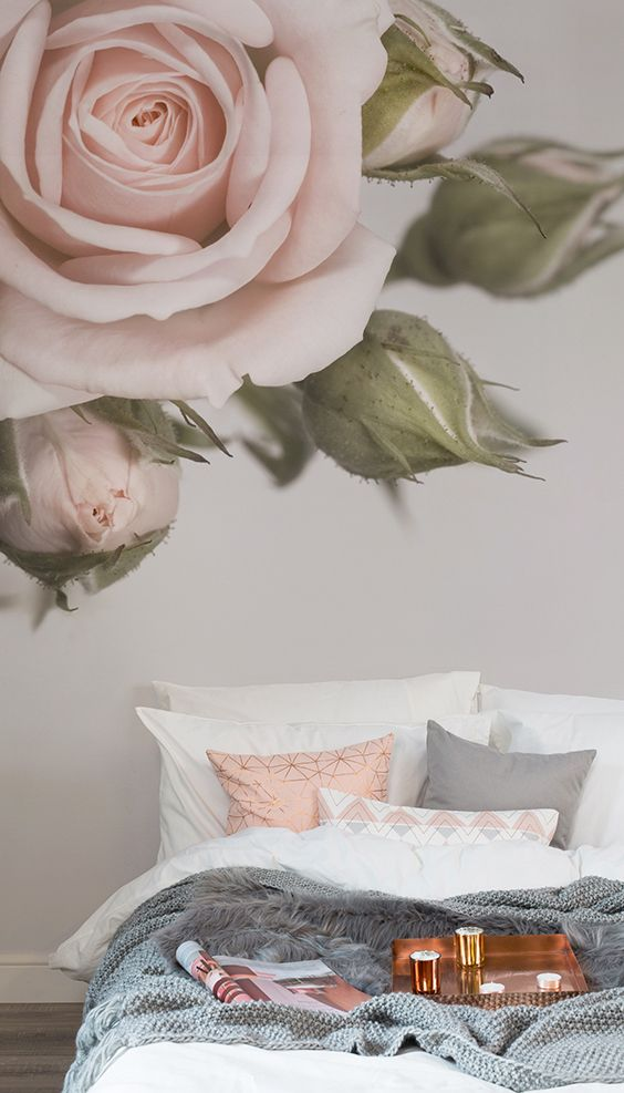 Major Bedroom Envy This Blush Pink Rose Wallpaper Mural Makes A Statement On Yo
