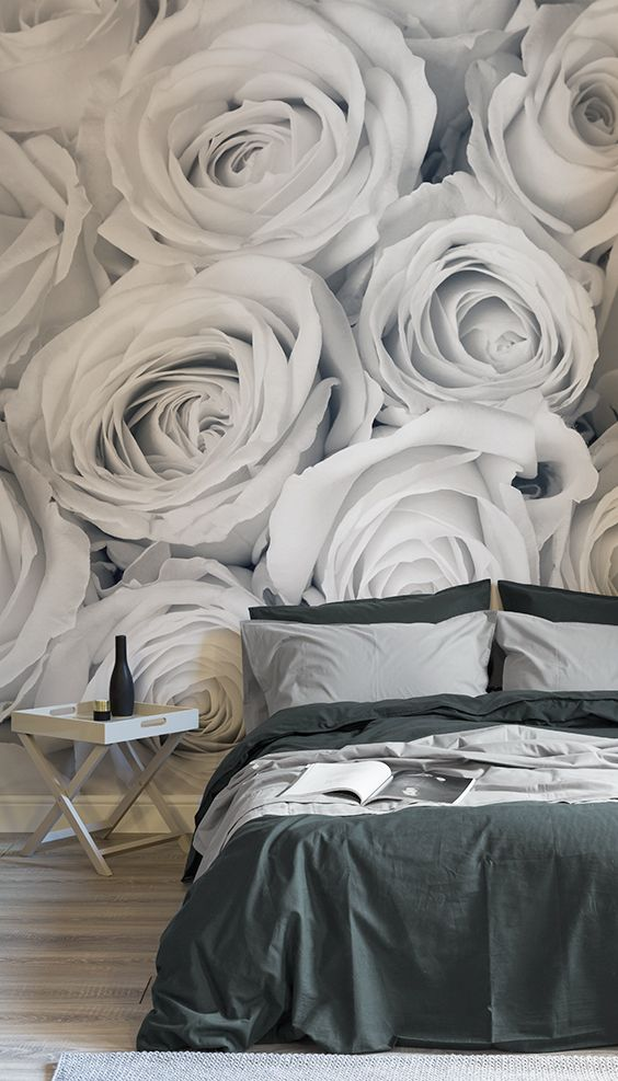 Make a statement with these larger than life florals. This floral wallpaper desi...