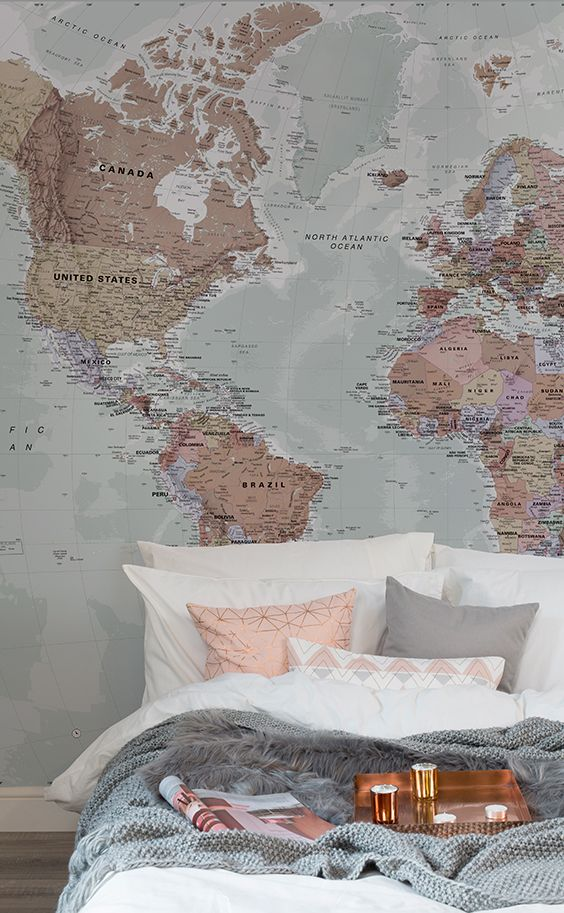 Bedroom wallpaper ideas sleepy sundays in these beautiful pink and sleepy sundays in these beautiful pink and neutral hues this world map wallpape gumiabroncs Choice Image