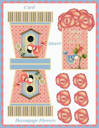 Country Primitive Flowerpot Cards & Decoupage Flowers Printables | SenecaPondCra...