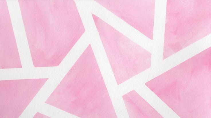 Pink White Watercolour Tile Pattern Desktop Wallpaper Background