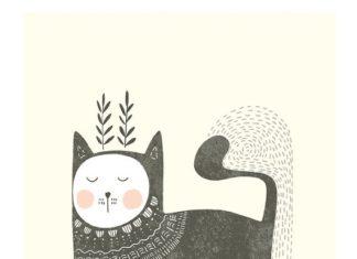 Sphinx Cat art print van RenkaStudio op Etsy