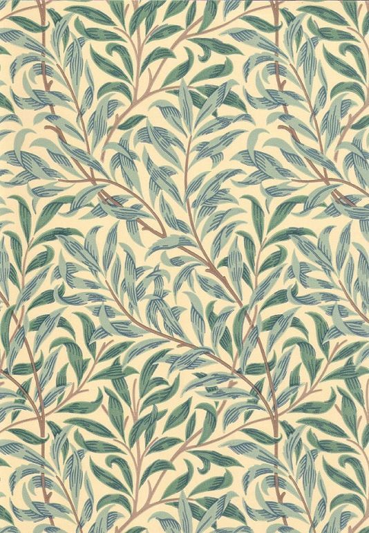 Willow Boughs Minor Wallpaper Climbing small willow leaf print wallpaper on crea...