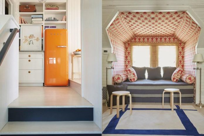 David Netto - Projects, wallpaper on ceiling, fabric as wallpaper