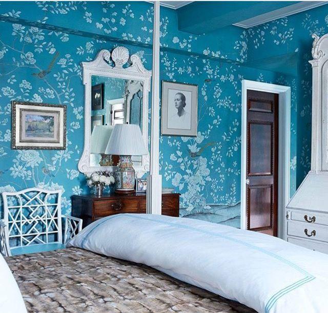 @ degournay Wallpaper, floral, teal, blue