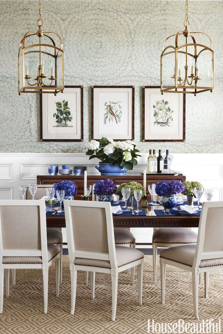 Interior Design Wallpaper Ideas Dining Room Schumacher Feather Bloom By Celerie Kemble
