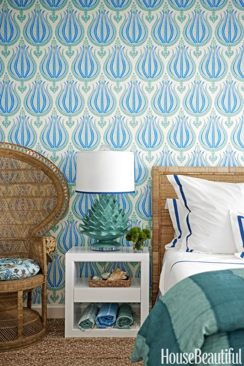 Interior Design Wallpaper Ideas In Another Guest Bedroom Gilbanes Gypsette Wall Covering Was Produced A