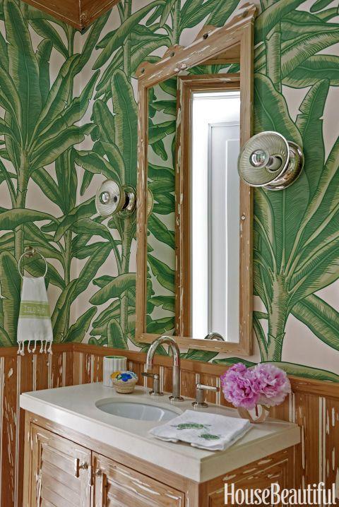 Interior Design Wallpaper Ideas : In the powder room, the walls are ...