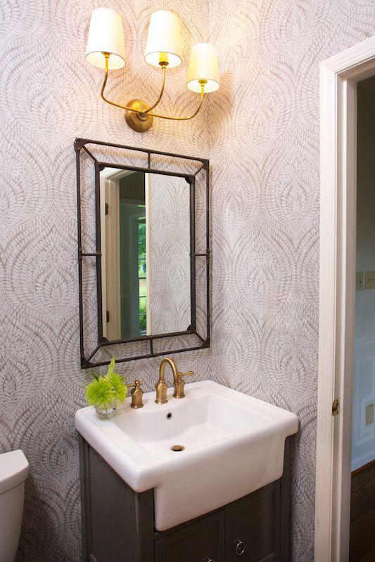 Power Bath, Wallpaper, Circa Lighting, Iron, Mirror, Marianne Strong Interiors