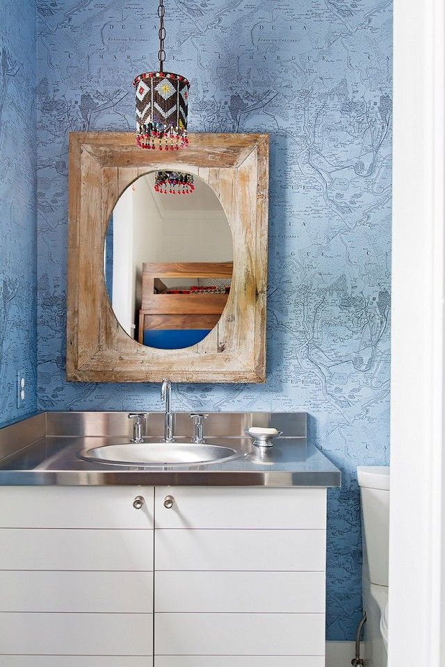 Interior design wallpaper ideas the childrens bathroom was the childrens bathroom was covered in a world map wallpaper by christian la gumiabroncs Images