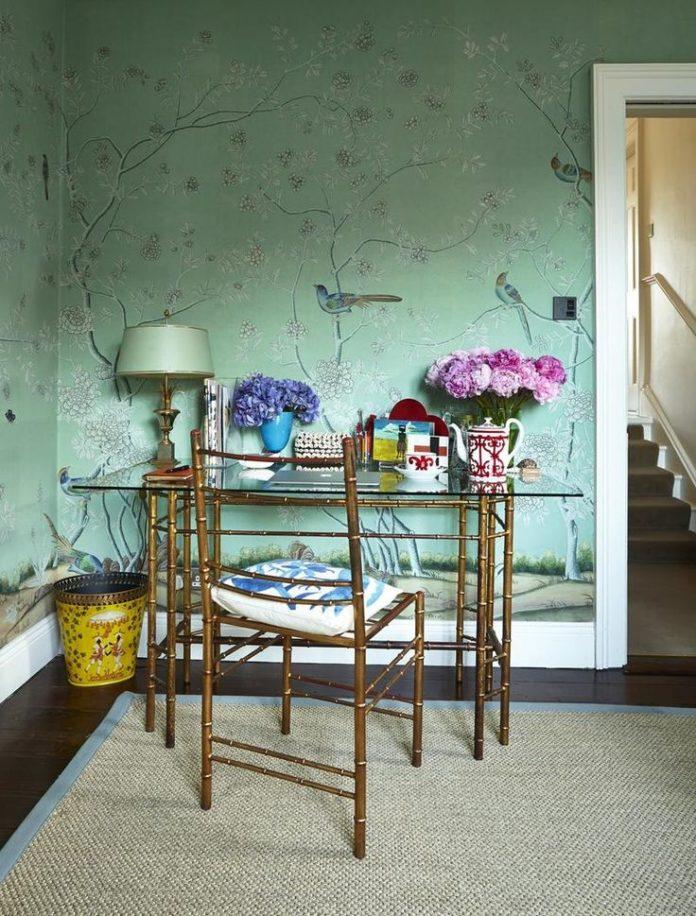 wallpaper, bamboo desk and chair, green, pippa-holt-dublin-home-7