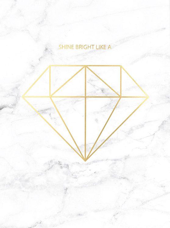 Mooie grafische poster met diamant in goud op marmer