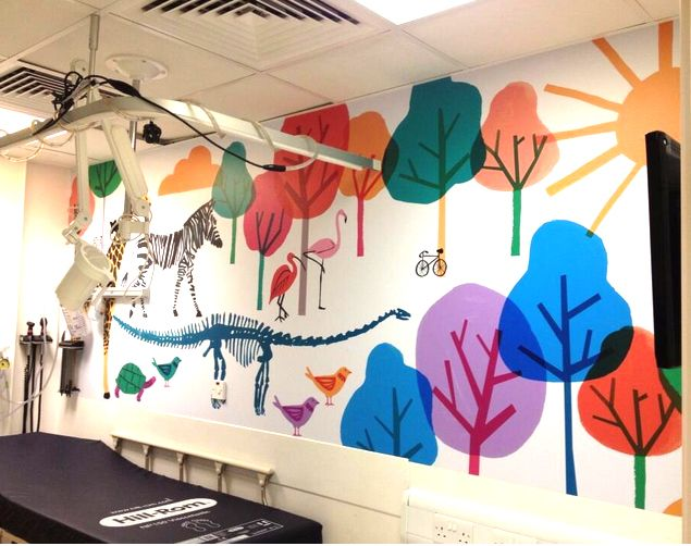 Beautiful cheerful wall mural for examination room in Children's hospital by Jen...