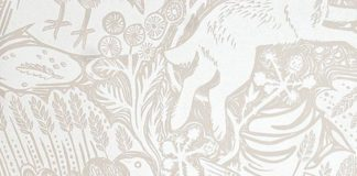 Harvest Hare Wallpaper Excellent lino print wallpaper with Mark Hearld rabbit an...