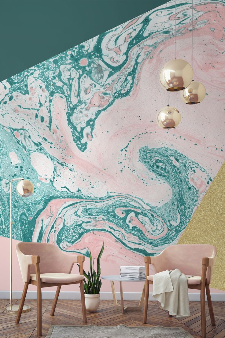 Living Room Wallpaper Inspiration In Love With This Blush Pink Marble And Gold Combination Forest Green Melts
