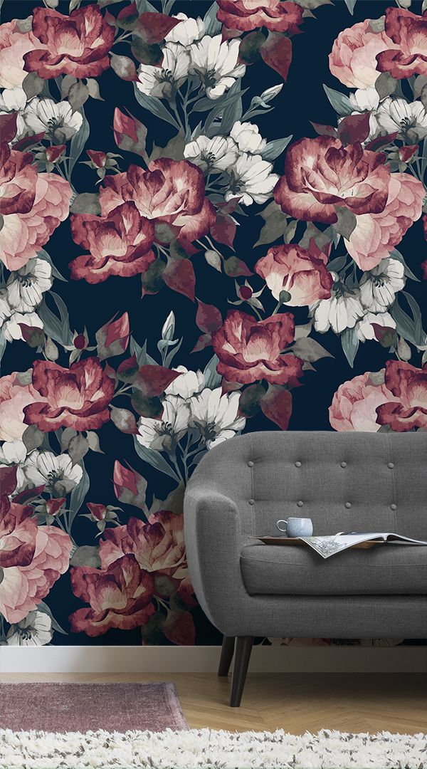 Our Deep Red Dark Floral Wall Mural is a beautiful example of how dark, deep col...