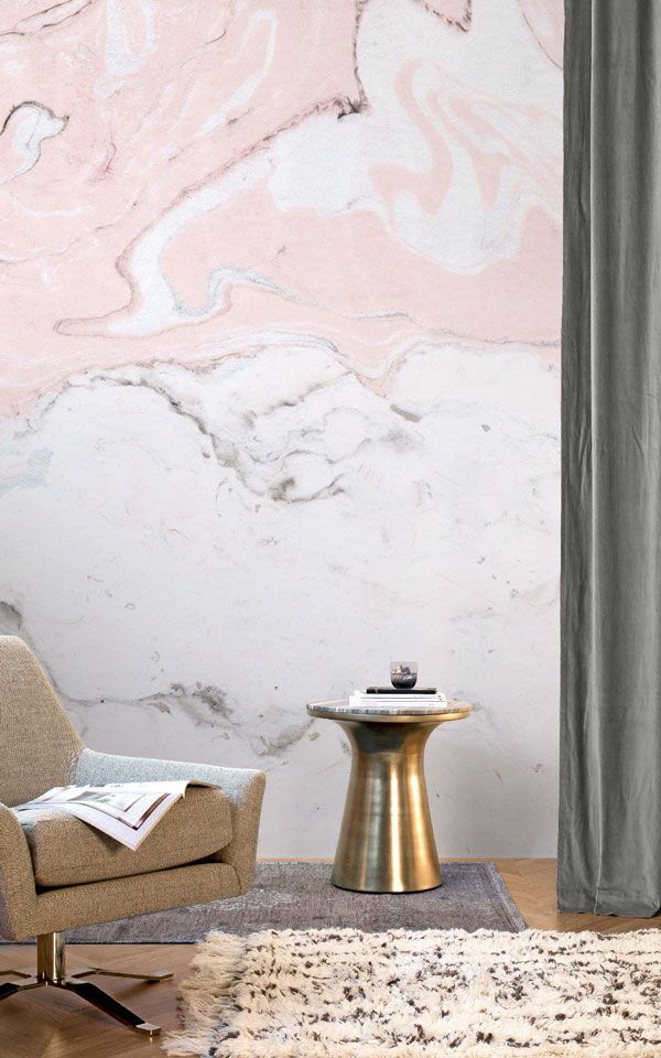 Our Pink & White Marbleized Mural makes an elegant feature in any sophisticated ...