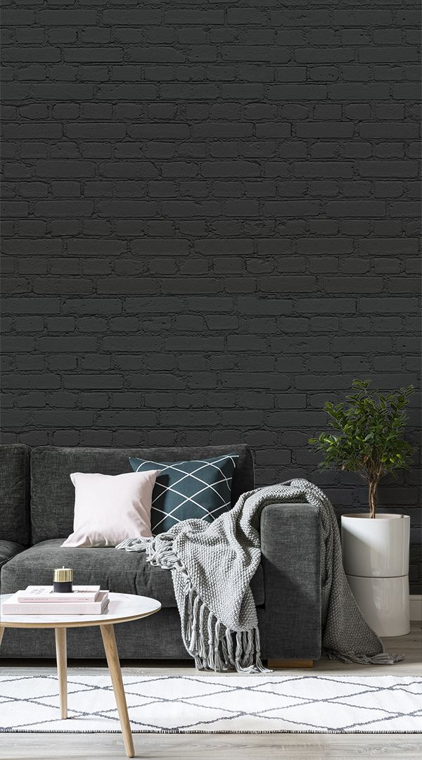 With Rich Dark Tones Running Through The Design, Our Black Brick Wallpaper  Mural.