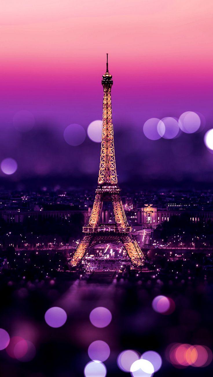 Tour Eiffel Paris Bokeh Purple Warmth
