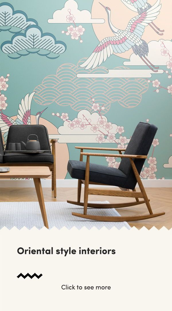 These oriental inspired wallpapers are colourful, serene and full of traditional...