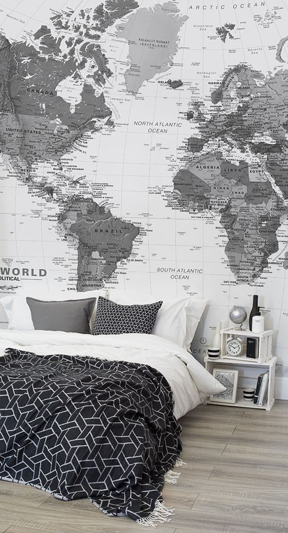 Bedroom wallpaper ideas planning your next getaway this world map this world map wallpaper brings the world to your fi gumiabroncs Choice Image