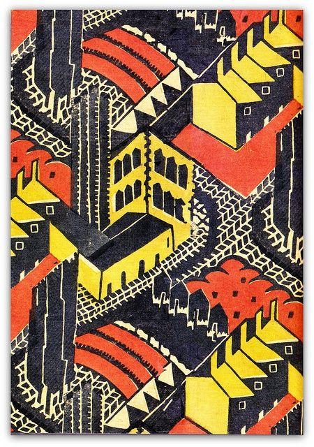 1930 block-printed linen furnishing fabric, 'Welwyn Garden City', designed by Do...
