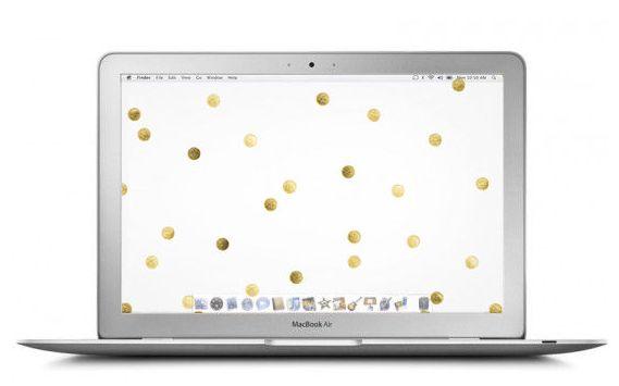 The golden dots remind us of Kate Spade's 2015 patterns! 10 Lovely Desktop W...