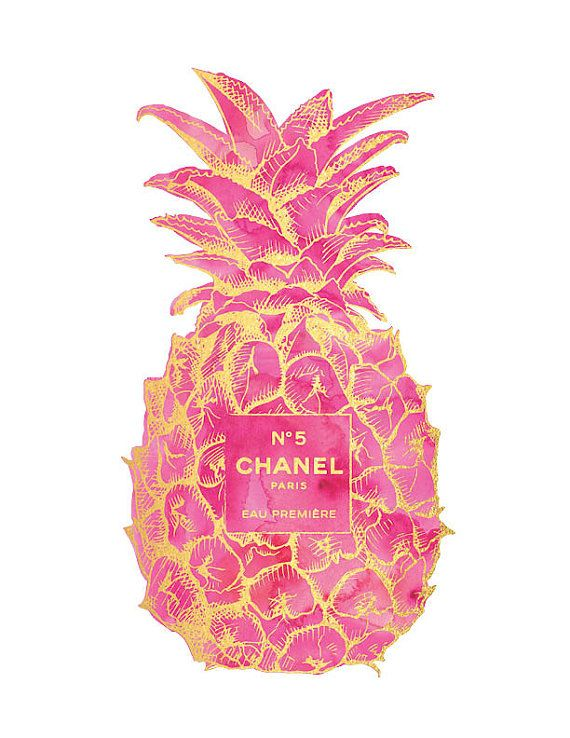 Gold Pink Pineapple Chanel No5 Print By Hellomrmoon
