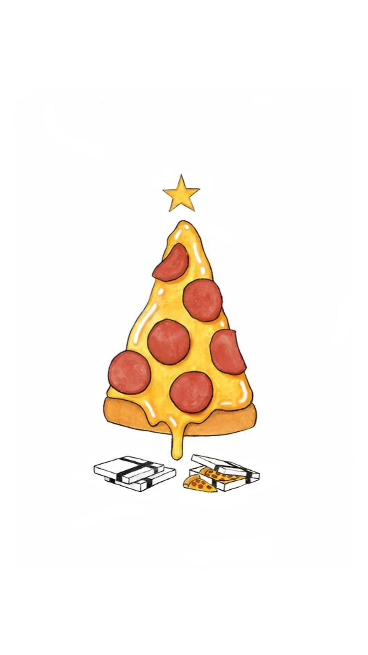 Phone & Celular Wallpaper : Pizza Christmas Tree Presents iPhone 6+ ...