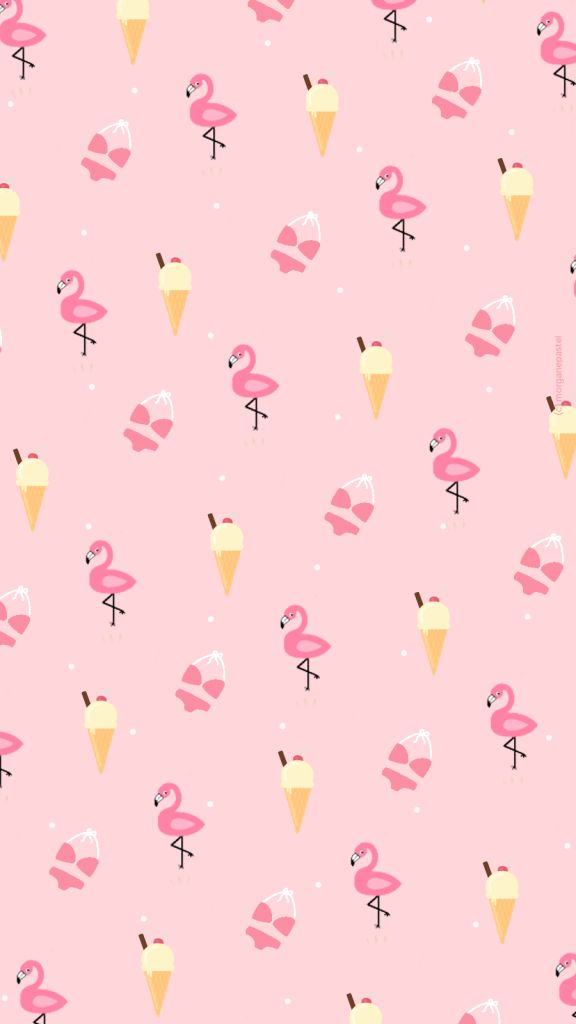 Wallpaper / Fond d'écran Ice cream & Flamingo pink summer - free download  ...